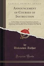Announcement of Courses of Instruction