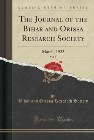Bog, paperback The Journal of the Bihar and Orissa Research Society, Vol. 8 af Bihar and Orissa Research Society