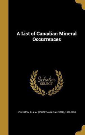 Bog, hardback A List of Canadian Mineral Occurrences