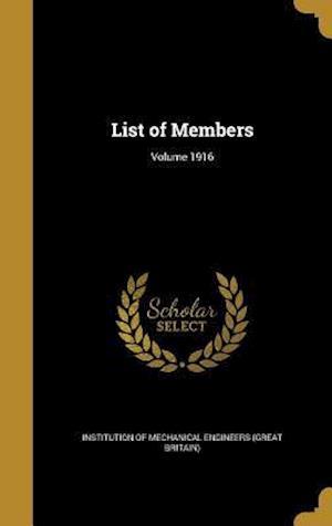 Bog, hardback List of Members; Volume 1916