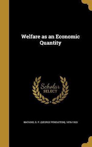 Bog, hardback Welfare as an Economic Quantity