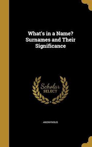 Bog, hardback What's in a Name? Surnames and Their Significance