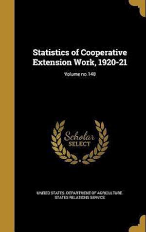 Bog, hardback Statistics of Cooperative Extension Work, 1920-21; Volume No.140