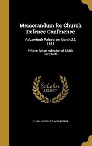 Bog, hardback Memorandum for Church Defence Conference