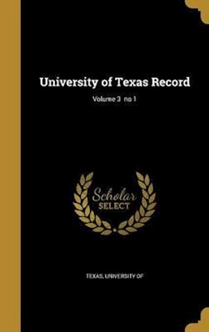 Bog, hardback University of Texas Record; Volume 3 No 1