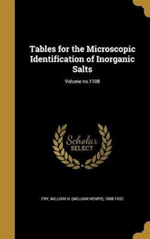 Bog, hardback Tables for the Microscopic Identification of Inorganic Salts; Volume No.1108
