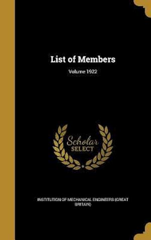 Bog, hardback List of Members; Volume 1922