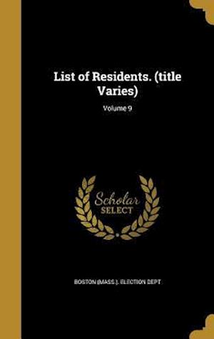 Bog, hardback List of Residents. (Title Varies); Volume 9