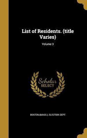 Bog, hardback List of Residents. (Title Varies); Volume 3
