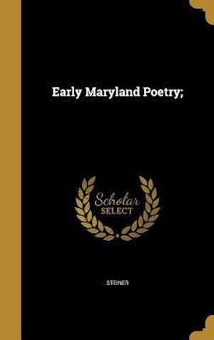 Bog, hardback Early Maryland Poetry;