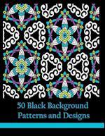 50 Black Background Patterns and Designs af Mindful Coloring Books