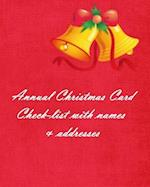 Annual Christmas Card Check-List with Names & Addresses