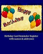 Birthday Card Reminder Register with Names & Addresses