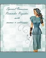 Special Occasions Reminder Register with Names & Addresses