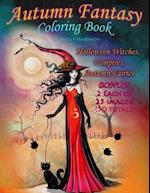 Autumn Fantasy Coloring Book - Halloween Witches, Vampires and Autumn Fairies