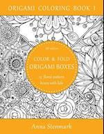 Color & Fold Origami Boxes - 15 Floral-Pattern Boxes with Lids