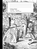 Alice in Wonderland College Rule Composition Book Notebook