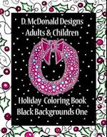 D. McDonald Designs Adults & Children Holiday Coloring Book Black Backgrounds One
