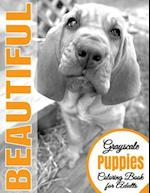Beautiful Grayscale Puppies Adult Coloring Book