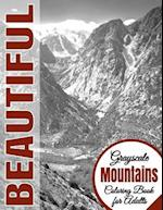 Beautiful Grayscale Mountains Adult Coloring Book