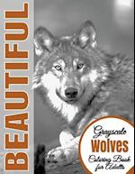 Beautiful Grayscale Wolves Adult Coloring Book