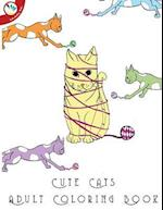 Cute Cats Adult Coloring Book