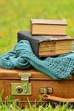 Vintage Leather Suitcase and Books Still Life Journal