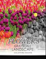 Flowers Grayscale Landscape Coloing Books Volume 3