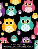 Cute Colorful Owl Academic Year 2017 Monthly Planner