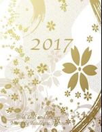 2017 Gold Leaf and Flower Monthly Academic Planner