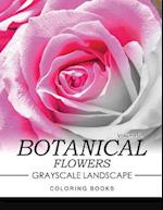 Botanical Flowers Grayscale Landscape Coloring Books Volume 1