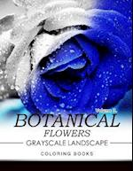 Botanical Flowers Grayscale Landscape Coloring Books Volume 3