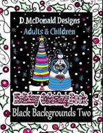 D. McDonald Designs Adults & Children Holiday Coloring Book Black Backgrounds Two