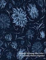 Beautiful Blooming Blue Velvet 2017 Monthly Planner Organizer
