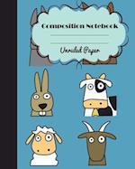Unruled Composition Notebook Journal Safari, School Supplies Notebook for Teens