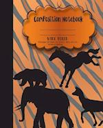 Composition Notebook Wide Ruled Paper, Woodland Safari Animal School Notebooks