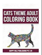 Cats Theme Adult Coloring Book