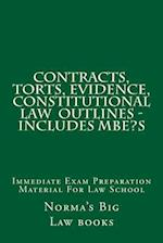 Contracts, Torts, Evidence, Constitutional Law Outlines - Includes MBE?S