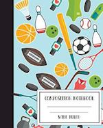 Sports Composition Notebook Wide Ruled Workbook for Journaling 8x10, 60 Sheets