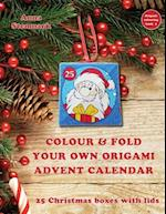 Colour & Fold Your Own Origami Advent Calendar - 25 Christmas Boxes with Lids