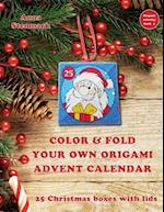 Color & Fold Your Own Origami Advent Calendar - 25 Christmas Boxes with Lids