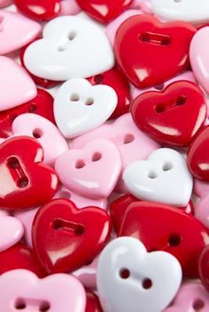 Bog, paperback Pretty Pink, Red, and White Heart Shaped Buttons Sewing Notions Journal af Cs Creations