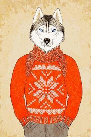 Bog, paperback Husky Dog in an Orange Sweater Illustration Journal af Cs Creations