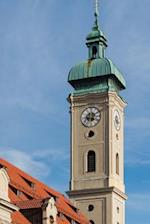 Bell Tower of the Holy Ghost Church in Munich, Germany