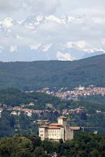 Aerial View of the Mountains and the Town of Angera, Italy