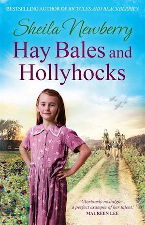 Hay Bales and Hollyhocks af Sheila Newberry