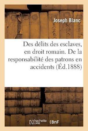 Bog, paperback Des Delits Des Esclaves, En Droit Romain. de La Responsabilite Des Patrons En Matiere D'Accidents