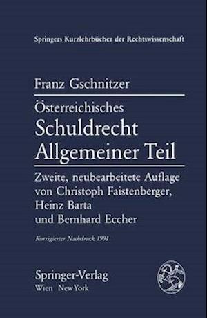A-Sterreichisches Schuldrecht af Franz Gschnitzer