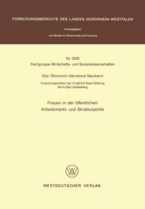Frauen in der offentlichen Arbeitsmarkt- und Strukturpolitik af Hannelore Neumann