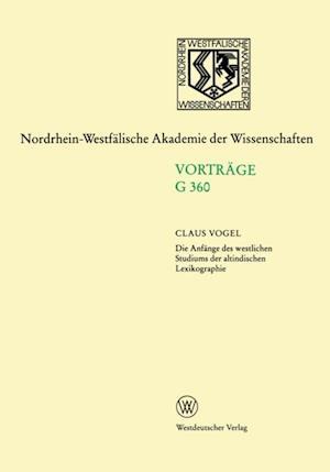 Die Anfange des westlichen Studiums der altindischen Lexikographie af Claus Vogel
